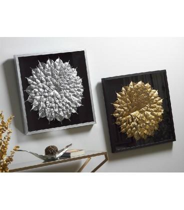Cuadro hojas dorado o plata Julia