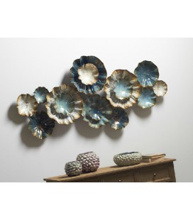 Panel forja abstractos flores Turín azul