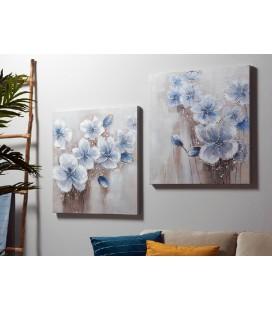 Pareja Otus flores azules óleo