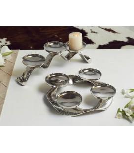 Portavelas metal plata nihan