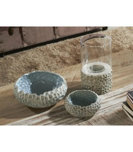 Portavelas cerámica azul Ali