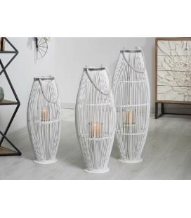Faroles de bambú biko blanco