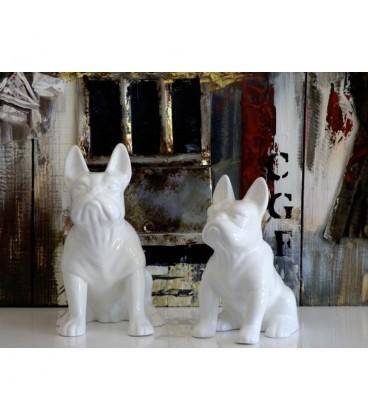 Figura decoración bulldog francés blanco