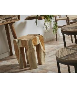 Puf madera de teca rústica Merlo