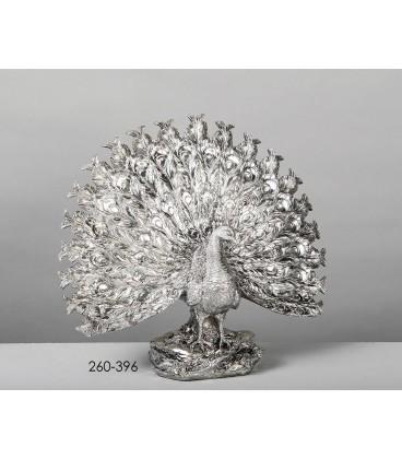 Figura decoración pavo real plata