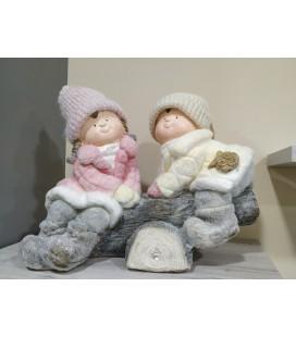 Figura niños navidad tronco