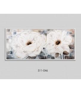 Cuadro flores beige grises marrón