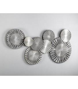Cuadro metal panel plata círculos