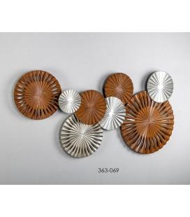 Cuadro metal panel cobre círculos