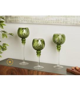 Portavelas cristal color verde Rozas