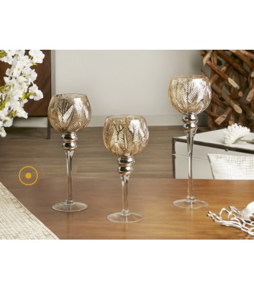 Portavelas cristal color dorado champagne Rozas