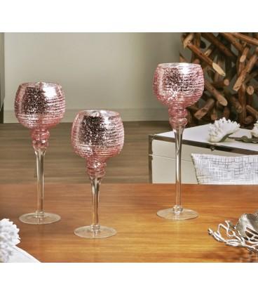 Portavelas cristal color rosa Bilbao