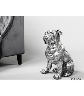 Figura decoración perro  bulldog francés plata gris